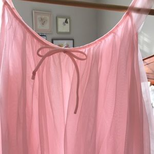 Vtg Lisette sissy pink nylon chiffon Nightgown S